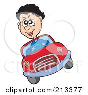 Royalty Free RF Clipart Illustration Of A Crazy Man Driving A Red Car