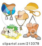 Royalty Free RF Clipart Illustration Of A Digital Collage Of Western Items by visekart