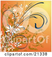 Clipart Illustration Of An Orange Background With White Green And Blue Curling Plants by Paulo Resende