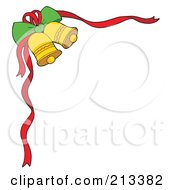 Royalty Free RF Clipart Illustration Of A Corner Border Of Jingle Bells And Red Ribbons