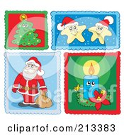 Royalty Free RF Clipart Illustration Of A Digital Collage Of Christmas Stamps 1
