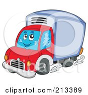 Royalty Free RF Clipart Illustration Of A Happy Driving Delivery Van by visekart