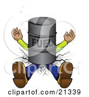Clipart Illustration Of A Man Lying Flat Crushed Into The Ground Under A Barrel Of Fuel by Paulo Resende