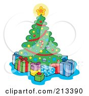 Royalty Free RF Clipart Illustration Of A Star On A Christmas Tree Shining Over Presents