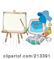 Royalty Free RF Clipart Illustration Of A PC Professor Character By A Blank Paper by visekart