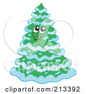 Royalty Free RF Clipart Illustration Of A Happy Evergreen Tree With Snow by visekart