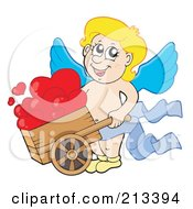 Blond Eros Cupid Pushing Hearts In A Wheelbarrow