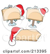 Royalty Free RF Clipart Illustration Of A Digital Collage Of Three Blank Christmas Signs