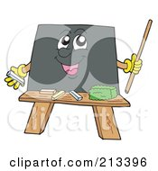 Royalty Free RF Clipart Illustration Of A Happy Blackboard Holding A Pointer Stick