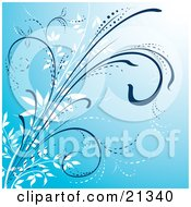 Clipart Illustration Of A Blue Background With White And Blue Curling Plants by Paulo Resende