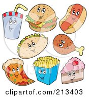 Royalty Free RF Clipart Illustration Of A Digital Collage Of Fast Food Characters by visekart