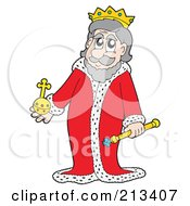 Royalty Free RF Clipart Illustration Of A Royal King In A Red Robe by visekart
