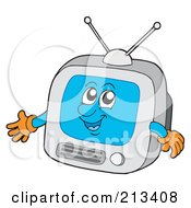 Royalty Free RF Clipart Illustration Of A Happy Blue Box TV