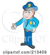 Royalty Free RF Clipart Illustration Of A Male Police Officer Presenting