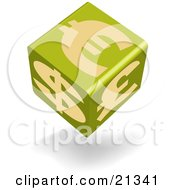 Clipart Illustration Of A Green Currency Cube Showing Euro Pound And Dollar Symbols
