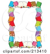 Royalty Free RF Clipart Illustration Of A Border Of Text Books Around White Space