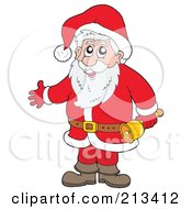 Royalty Free RF Clipart Illustration Of A Cartoon Santa Holding A Bell