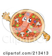 Royalty Free RF Clipart Illustration Of A Happy Supreme Pizza by visekart