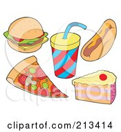 Royalty Free RF Clipart Illustration Of A Digital Collage Of Food Items 3 by visekart