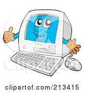Royalty Free RF Clipart Illustration Of A PC Character Holding A Thumb Up by visekart