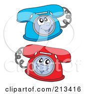 Royalty Free RF Clipart Illustration Of A Digital Collage Of Two Landline Phone Characters
