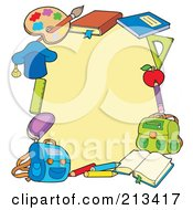 Royalty Free RF Clipart Illustration Of A Border Of School Items Around White Space