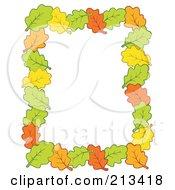 Border Of Autumn Leaves Around White Space