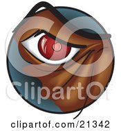 Clipart Illustration Of A Closeup Of A Red Eye Of An Angry Monster Or Dog