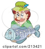 Royalty Free RF Clipart Illustration Of A Happy Man Holding His Caught Fish