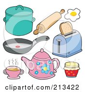 Royalty Free RF Clipart Illustration Of A Digital Collage Of Kitchen Items 1 by visekart