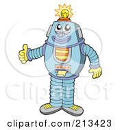 Royalty Free RF Clipart Illustration Of A Friendly Robot Holding A Thumb Up A Light Shining On His Head by visekart