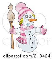 Royalty Free RF Clipart Illustration Of A Wintry Snowwoman In A Pink Hat