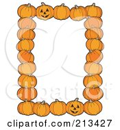 Royalty Free RF Clipart Illustration Of A Border Of Halloween Pumpkins And Jackolanterns Around White Space