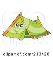 Royalty Free RF Clipart Illustration Of A Green Tent Character