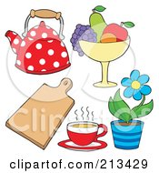 Royalty Free RF Clipart Illustration Of A Digital Collage Of Kitchen Items 3 by visekart