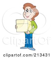 Royalty Free RF Clipart Illustration Of A Brunette Boy Carrying A Parcel by visekart