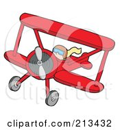 Royalty Free RF Clipart Illustration Of A Pilot Operating A Red Biplane