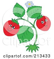 Royalty Free RF Clipart Illustration Of A Happy Strawberry Couple On The Plant by visekart