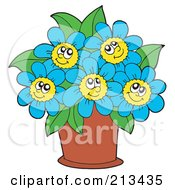 Royalty Free RF Clipart Illustration Of A Pot Of Happy Blue Flowers