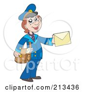Royalty Free RF Clipart Illustration Of A Friendly Mail Woman Holding An Envelope by visekart
