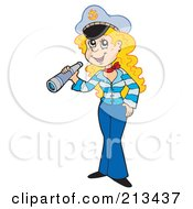 Royalty Free RF Clipart Illustration Of A Blond Sailor Woman Holding A Telescope by visekart