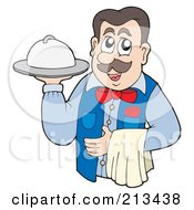 Royalty Free RF Clipart Illustration Of A Male Waitor Serving A Platter