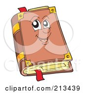 Royalty Free RF Clipart Illustration Of A Happy Old Brown Book