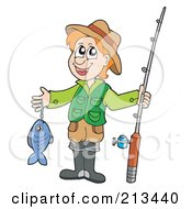 Royalty Free RF Clipart Illustration Of A Happy Man Holding His Fish And Rod by visekart