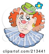 Royalty Free RF Clipart Illustration Of An Evil Clown Face