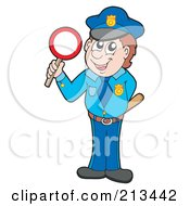 Royalty Free RF Clipart Illustration Of A Male Police Officer With A Stop Sign by visekart