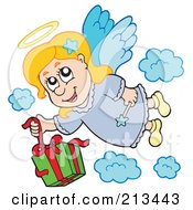 Royalty Free RF Clipart Illustration Of An Angel Girl Dropping A Gift From Heaven