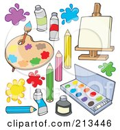 Royalty Free RF Clipart Illustration Of A Digital Collage Of Art Items by visekart