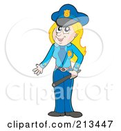 Royalty Free RF Clipart Illustration Of A Female Police Officer Holding A Baton by visekart