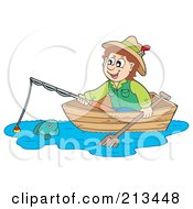Royalty Free RF Clipart Illustration Of A Happy Man Looking At A Fish From A Boat by visekart